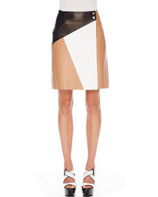Colorblock Leather Skirt   Colorblock Leather Skirt