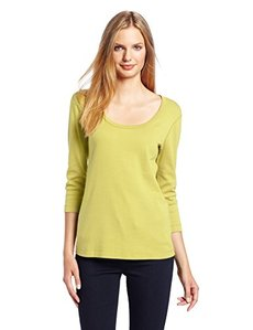 Three Dots Red Women's 3/4 Sleeve Scoop Neck