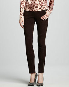 J Brand Ready to Wear Astrid Suede Zip-Pocket Pants