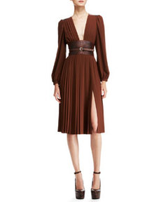 Pleated Dress with Embossed Belt   Pleated Dress with Embossed Belt