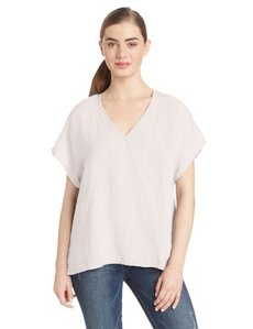 Three Dots Red Women's Cap Sleeve Boxy Top French Linen