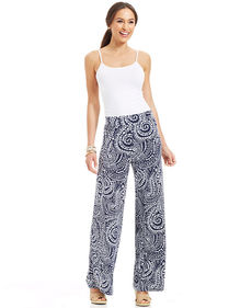 Charter Club Printed Wide-Leg Pants