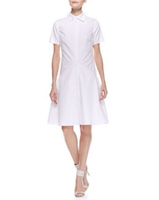 Two-Collar Cotton Poplin Flounce Shirtdress, Ivory   Two-Collar Cotton Poplin Flounce Shirtdress, Ivory