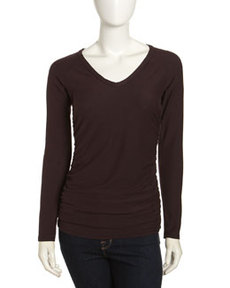 James Perse Knit V-Neck Long-Sleeve Tee, Joplin