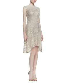 Kay Unger New York Cap-Sleeve Metallic Lace High-Low Cocktail Dress, Rose/Gold