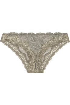 Stella McCartney Katherine Shining low-rise lace-trimmed stretch-mesh briefs