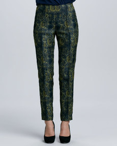 Lafayette 148 New York Printed Skinny Pintucked Pants