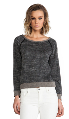 Alice + Olivia Long Sleeve Raglan With Leather Elbow Patch in Charcoal