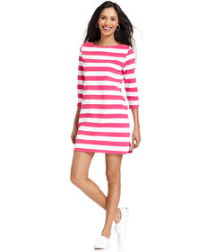 Style&co. Sport Petite Three-Quarter-Sleeve Striped Dress