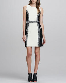 Tweed-Trim Wool Dress   Tweed-Trim Wool Dress