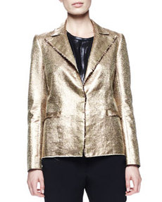 Lanvin Matte Metallic Basketweave Jacket, Gold