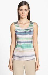 St. John Collection 'Oasis Stripe' Sleeveless Stretch Silk Scoop Neck Shell