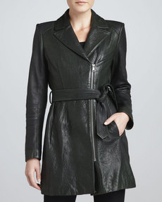 Andrew Marc Sophie Tie-Waist Leather Jacket