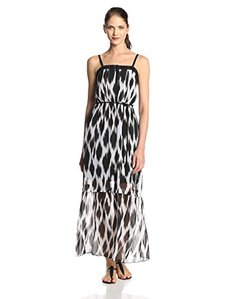 Kensie Women's Streaked Spots Maxi Chiffon Dress