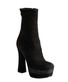 Miu Miu black suede and glitter colorblock square toe platform boots