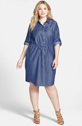 Calvin Klein Roll Sleeve Chambray Shirtdress (Plus Size)