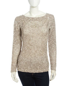 Lafayette 148 New York Long-Sleeve Net-Woven Pullover Sweater, Pumice Multi