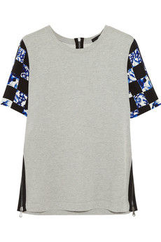 Tibi Printed silk and cotton-jersey top