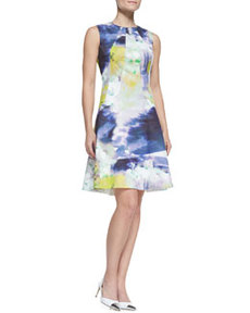 Seamed Drop-Waist Printed Cotton Dress   Seamed Drop-Waist Printed Cotton Dress
