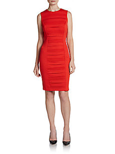 Calvin Klein Pleat Front Ponte Dress