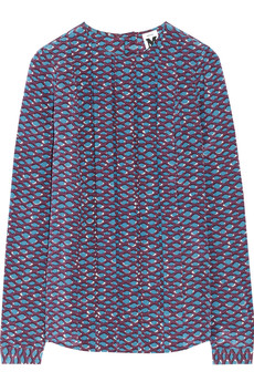M Missoni Pleated printed silk top