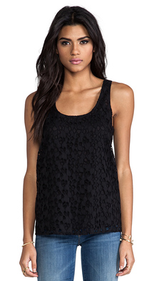 Joie Romina Eyelet Lace Tank in Black