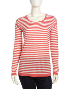 Joie Adaline Long-Sleeve Striped Sweater, Punch