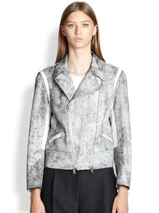 3.1 Phillip Lim Contrast Cropped Motorcycle Jacket