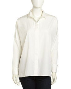 Paper Denim & Cloth Oversized French-Cuff Shirt, White