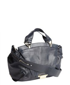 Kooba navy leather 'Leonard' foldover top handle bag