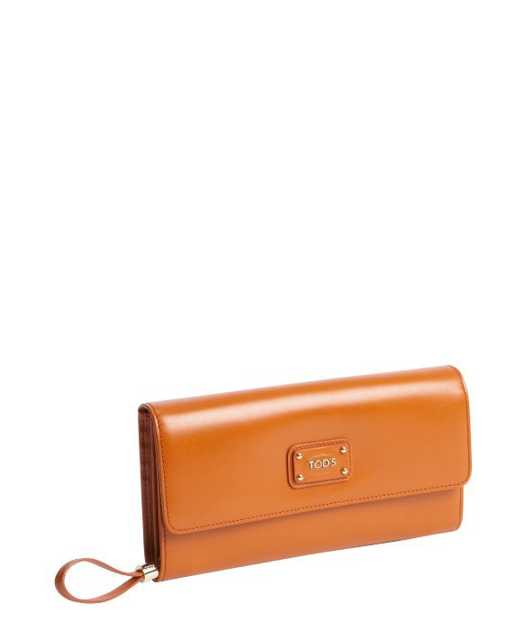 Tod's orange calfskin multi-card continental wallet