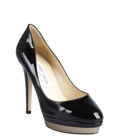 Jimmy Choo black patent leather 'Talent' platform pumps