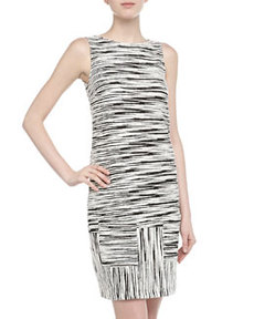 Isaac Mizrahi Sleeveless Slashed Stripe Print Mini Dress, Black/White