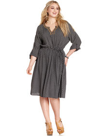 Lucky Brand Plus Size Three-Quarter-Sleeve Beaded Shirtdress