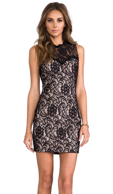 Dolce Vita Abrianna Stretch Floral Lace Dress in Black