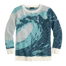 Metallic wave jacquard sweater