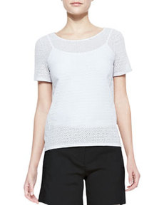 Micro-Eyelet Short-Sleeve Top   Micro-Eyelet Short-Sleeve Top