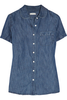 J.Crew Cotton and linen-blend chambray blouse