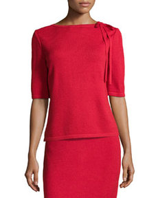 St. John Tie-Neck Knit Sweater, Ruby
