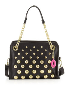 Betsey Johnson Great Balls of Fire Pebbled Satchel Bag, Black