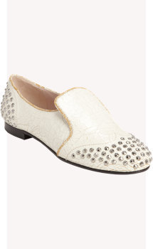 Miu Miu Crackled Studded Loafer