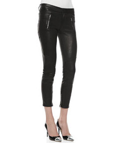 Julia Leather Biker Pants, Noir   Julia Leather Biker Pants, Noir