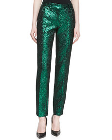 Michael Kors Metallic Crushed Pants, Emerald