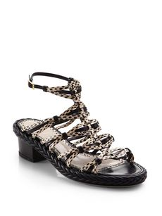Jason Wu Strappy Snakeskin & Leather Braided Sandals