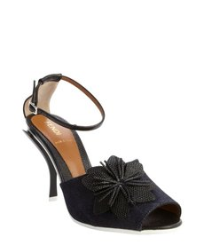 Fendi blue canvas and black leather flower detail open toe pumps