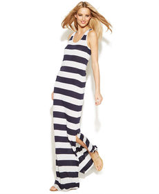 INC International Concepts Petite Striped Racerback Maxi Dress
