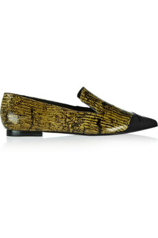 Tibi Anya glossed lizard-effect leather loafers