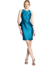 Carmen Marc Valvo peacock sateen peplum sleeveless dress