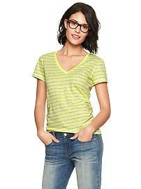 Essential stripe short-sleeve V-neck tee