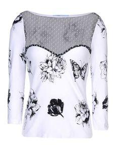 BLUMARINE Print Lightweight sweater Lace Two-tone pattern Round collar 3/4 length sleeves Knitted not made of fur 3/4 length sleeves